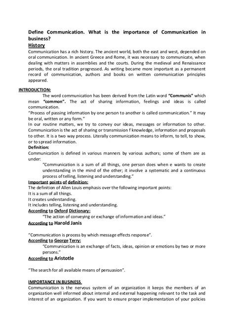 pattern of business communication pdf what is the importance of communication in business