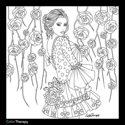 coloring pages for therapy lady with floral background color with color therapy http
