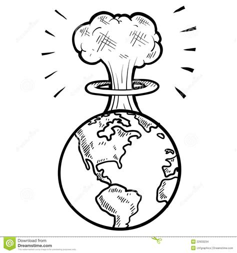doodle how to make nuclear bomb cloud sketch stock images image 22933234