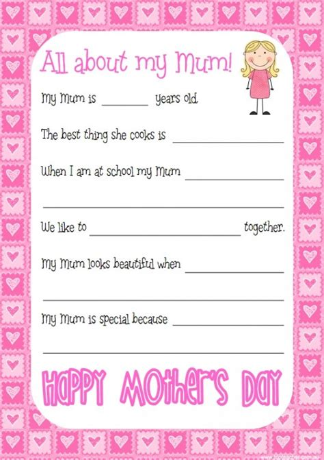 printable mother s day questionnaire mother s day questionnaire top teacher innovative and