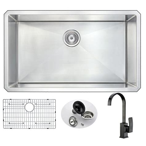 undermount kitchen sink with faucet holes anzzi vanguard undermount stainless steel 32 in 0 hole