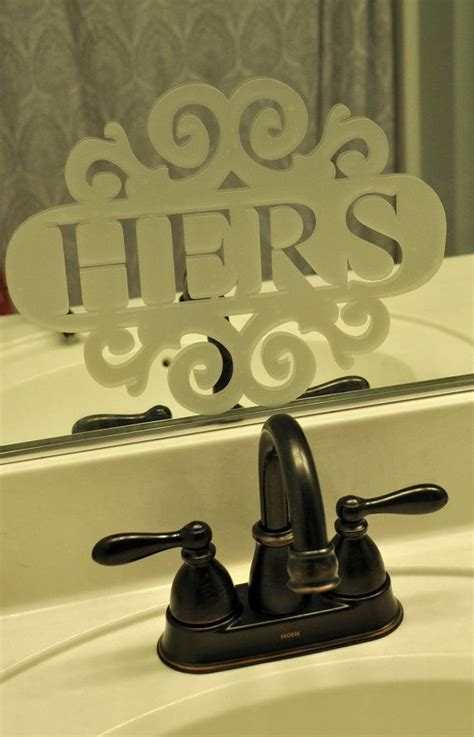 etched glass mirrors bathroom his hers etched glass mirror decal for bathroom etched