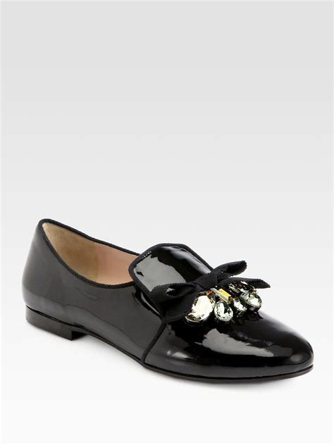 miu miu loafer lyst miu miu embellished patent leather bow loafers in black