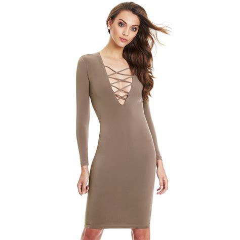 Cross V Neck Sleeve v neck cross open front lace up sleeve bandage bodycon dress ebay