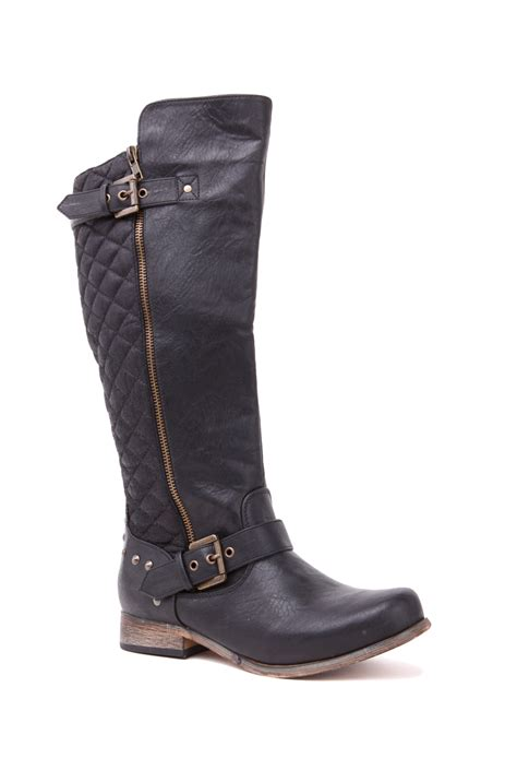 black boots lyst steve madden gaige boot in black
