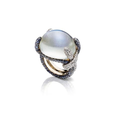 pomellato pom pom pomellato pom pom ring in moonstones sapphires and