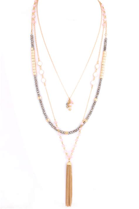 multi layered glass bead tassel necklace necklaces