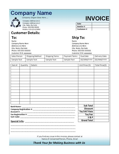 Business Invoice Template Free by Business Invoice Factoring Tips 101 Company Documents