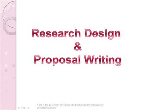 research design and proposal research design and proposal writing