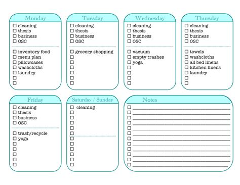 7 best images of house cleaning chore list printables