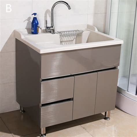 90cm Stainless Steel Double Sink Laundry Cabinets   JOLONG