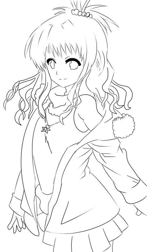 free anime girl lineart by volvoab