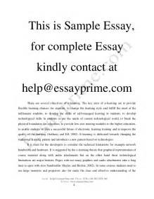 Complete Essay by E Learning Essay Sle