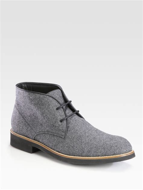 mens grey chukka boots tod s suede chukka boot in gray for grey lyst