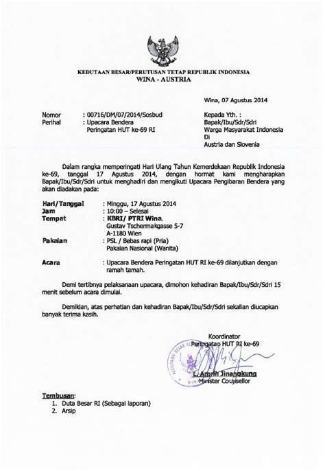 undangan upacara bendera peringatan hut ri ke 69 minggu
