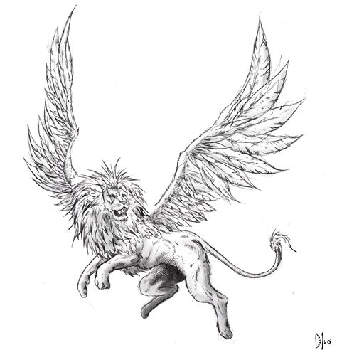 lion with wings tattoo winged by draftmanart on deviantart