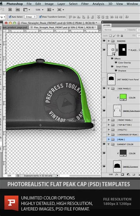 Flexfit Flat Peak Cap Template Photoshop Psd Layered Photoshop Templates