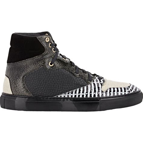 balenciaga black sneakers balenciaga multimatieres high top sneakers in black for