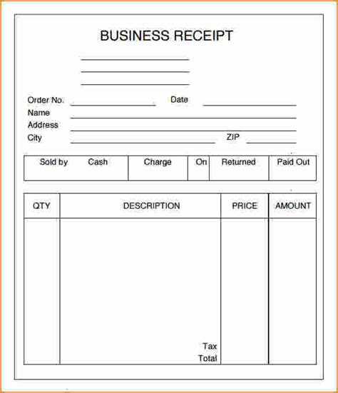 3 business receipt template printable receipt