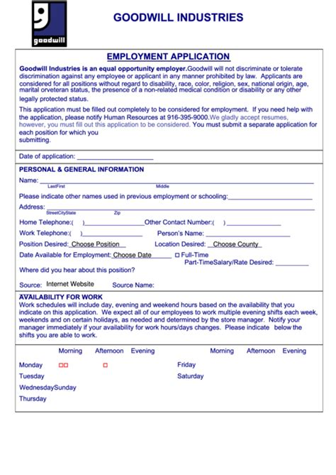 printable job application for goodwill fillable goodwill employment application printable pdf