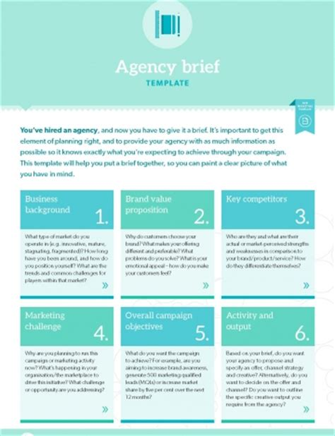 Agency Briefformat Template Agency Brief B2b Marketing