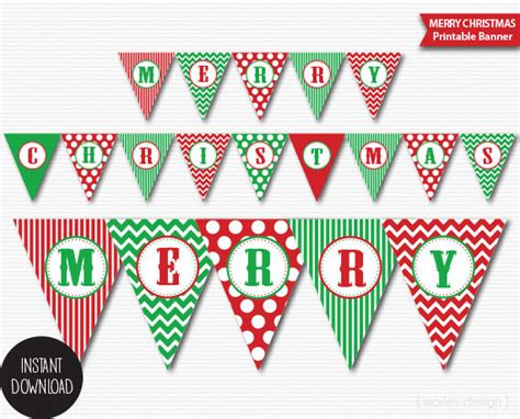 Christmas Banner Printable Classic Colors Holiday Banner Merry Christmas Banner Christmas Party Merry Letter Banner Template