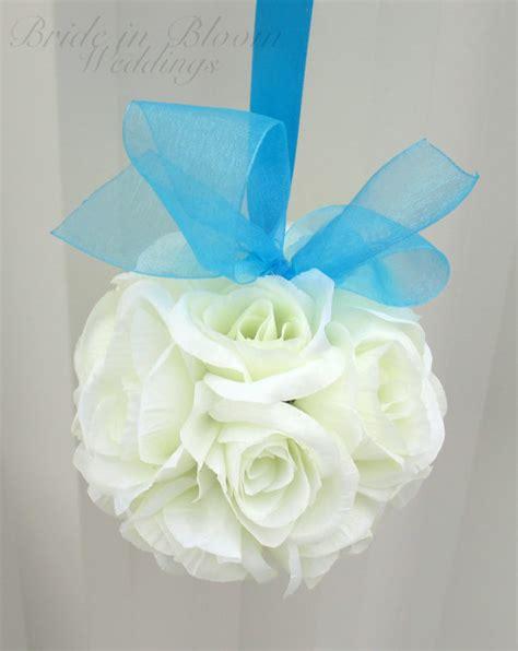 wedding aisle flower balls wedding flower balls pomander white turquoise wedding