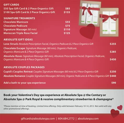 valentines spa specials s day packages absolute spa