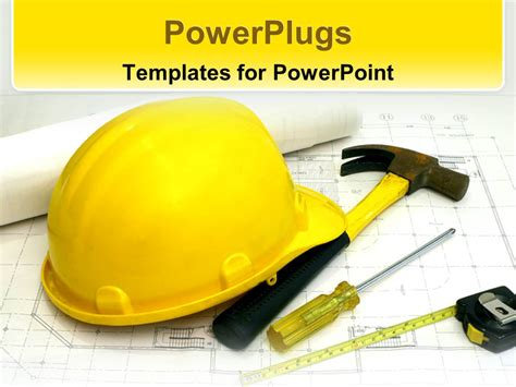 templates for powerpoint construction powerpoint template a construction worker s hat along