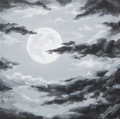 original night sky painting moon and clouds cloudy night sky