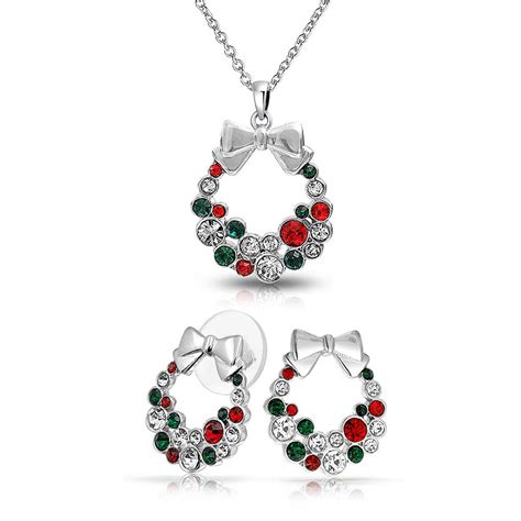 images of christmas jewelry silver plated crystal christmas wreath necklace stud