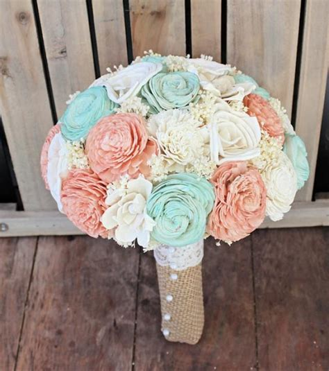 Handmade Wedding Bouquet - handmade wedding bouquet large mint ivory bridal