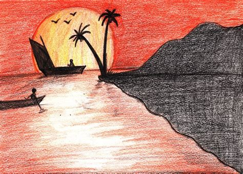 sunset colored pencil sunset colored pencils drawing sunset with