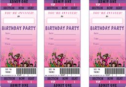 printable birthday party ticket theme party invitations
