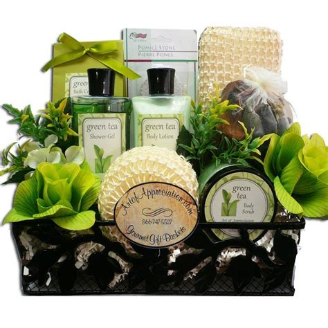 bath gift basket ideas spa day get away green tea bath