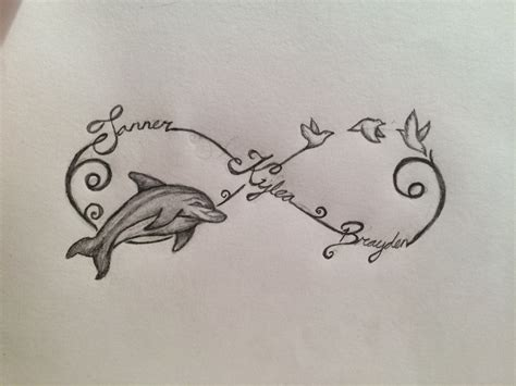 infinity sign with names infinity sign with names dolphin and birds tattoos