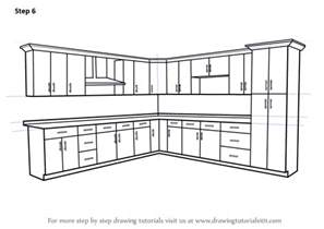 Kitchen Drawings by Learn How To Draw Kitchen Cabinets Furniture Step By