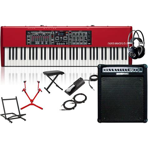 nord electro 5 hp with keyboard lifier matching stand headphones bench and sustain pedal