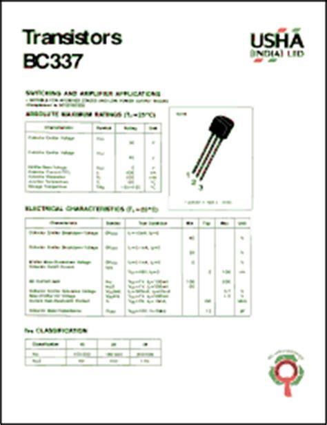 datasheet transistor npn bc337 usha bc337 datasheet