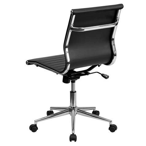 Armless Office Desk Chairs Black Leather Conference Executive Computer Office Desk Task Chair Armless Ebay