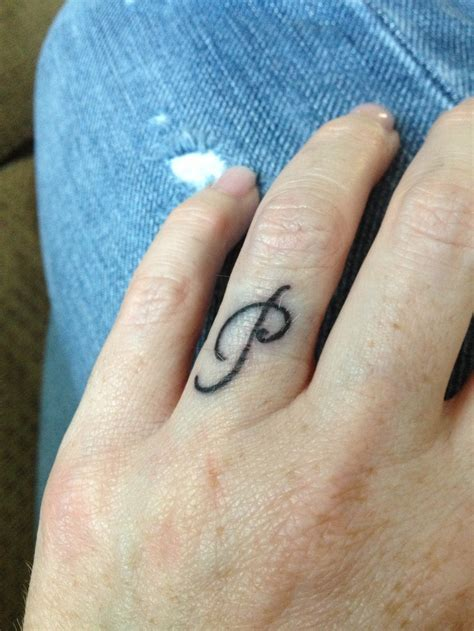tattoo initials finger i love this p for our ring finger initial tattoos