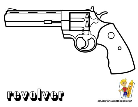 pages to color for boys guns coloring of revolver gun at