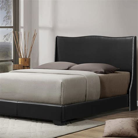 baxton studio vino black modern bed with upholstered headboard baxton studio vino modern upholstered bed full black