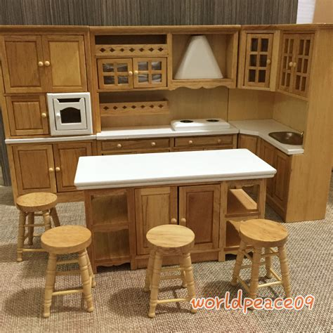 house sofas dollhouse miniature burlywood integrated kitchen furniture