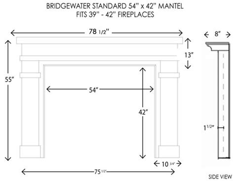 Standard Size Fireplace wood fireplace mantels bridgewater standard