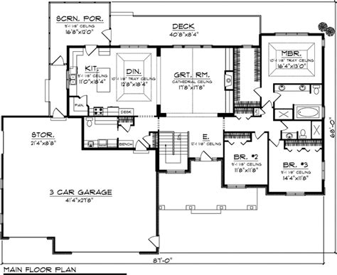 House Plan 73147 At Familyhomeplans Com Craftsman House Plans One Level