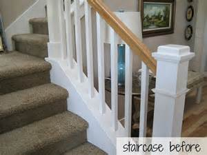 Painting Wood Banister Hickory Hardwood Flooring And Staircase Makeover