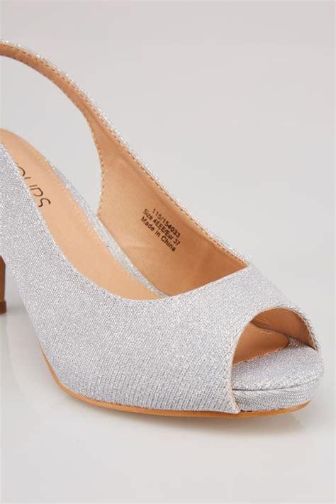 White Cath Flat Sling Back Sandals silver glittery peep toe sling back heels in eee fit