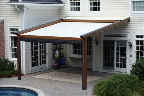 retractable pergola awnings private residence landscape pool and patio application