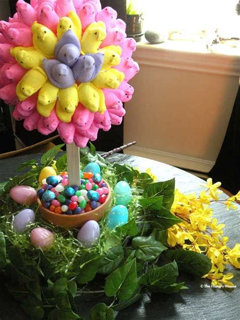 easter centerpiece ideas peep topiary plus other easter table top decorating ideas